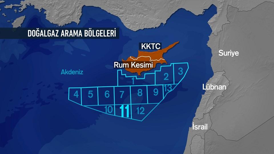 Akdeniz'de Kıbrıs adasının güneyindeki enerji sahalarının haritası