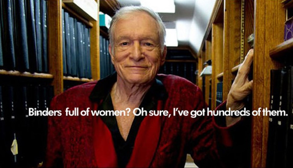"""Playboy dergisinin sahibi """"Klasörler dolusu kadın mı? Tabii ya, bunlardan bende yüzlerce var"""" esprisi yapıldı."""