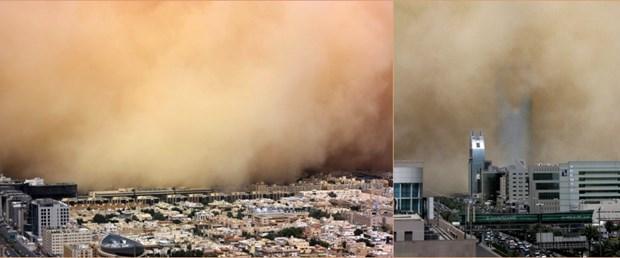 Kum fırtınası Riyad'ı toz bulutuyla örttü