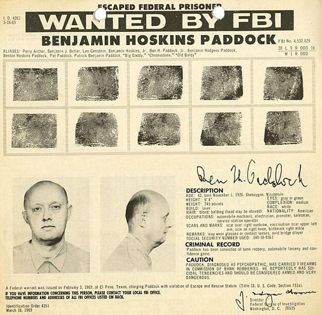 Saldırganın babasıBenjamin Hoskins PaddockFBI'ın 'çok en çok aranan kişiler listesi'nde bulunuyordu.