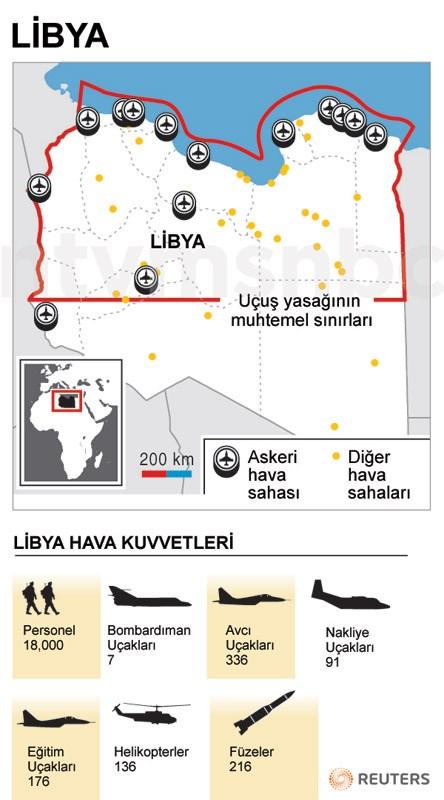 Libya'da Birleşmiş Milletler'in kararına göre uçuş yasağı uygulanması beklenen sınırlar.