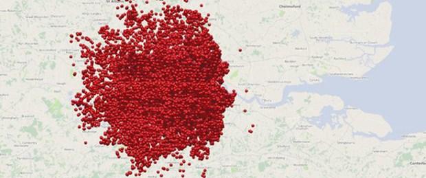 Londra'ya Nazi saldırısının haritası
