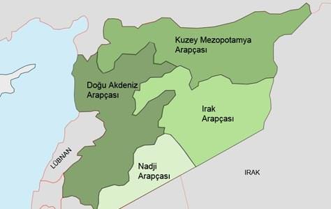 Suriye'deki Arapça lehçeleri. (Grafiği büyütmek için tıklayın)