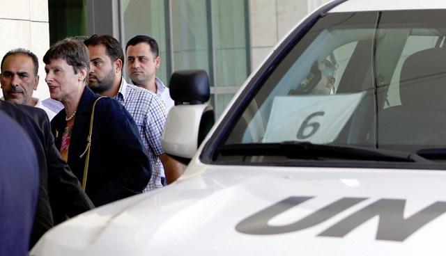 BM temsilcisi Angela Kane Şam'daki Four Seasons oteline giriş yaparken görüntülendi.