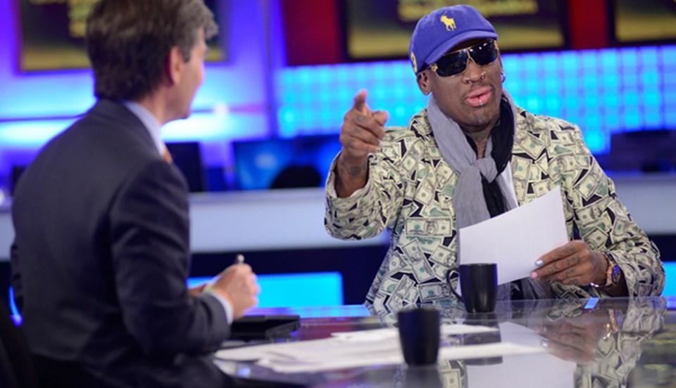 Rodman, ABC televizyonuna her zamanki gibi ilginç bir kıyafetle çıktı.