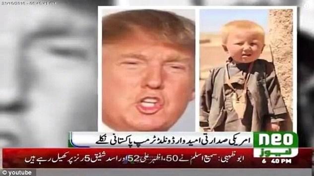 """""""Neo News"""" televizyonuna göre, ABD başkanı seçilen Donald Trump 1946 yılında Pakistan'ın Kuzey Veziristan bölgesinde doğdu."""