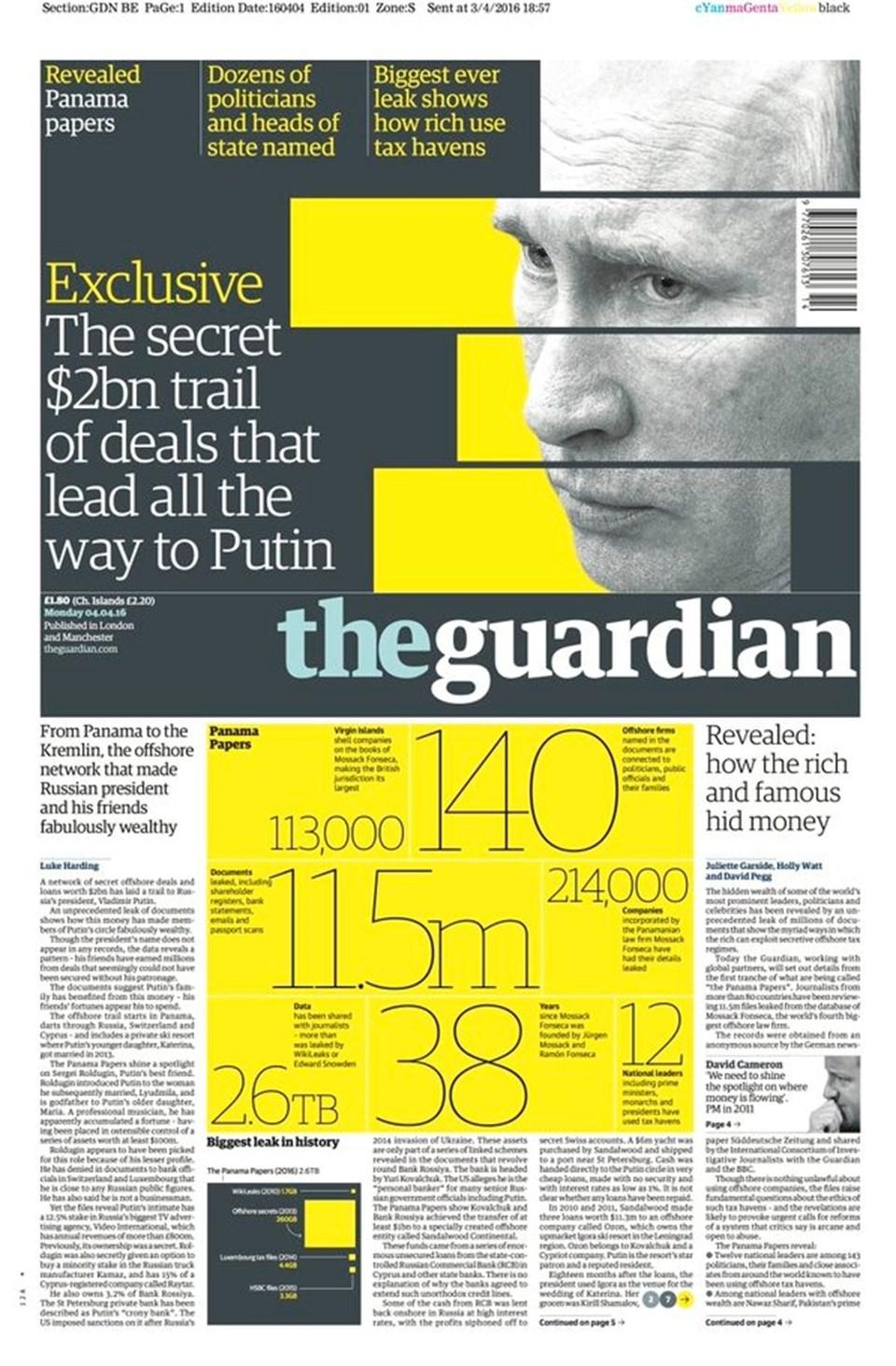 """İngiliz Guardian gazetesi """"Panama papers"""" olayını manşetten tam sayfa verdi"""