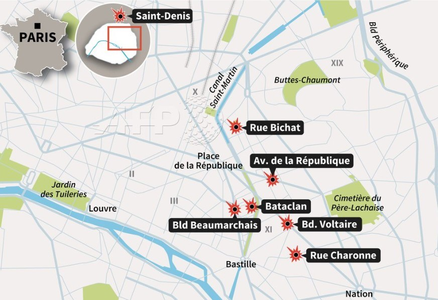 Paris'te 7 farklı noktada saldırı düzenlendi.