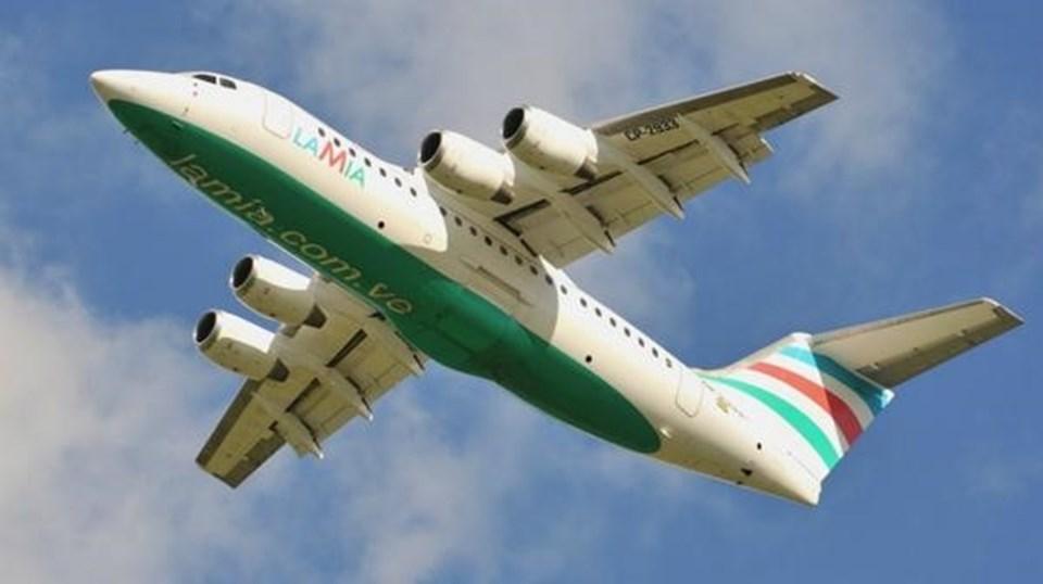 Chapecoense takımını taşıyan uçak.