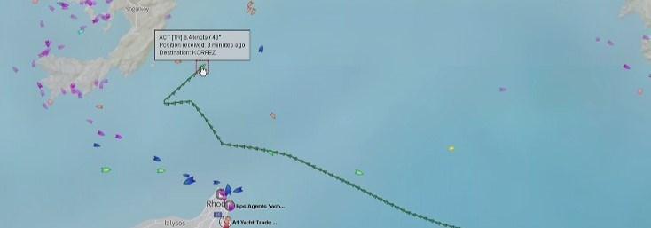 Haritada geminin izlediği rota görülüyor.