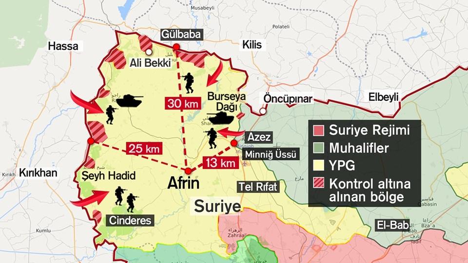 TSK'nın Afrin'deki Zeytin Dalı Harekatı devam ediyor.