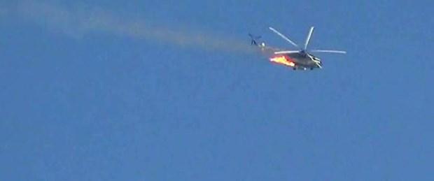 'Suriye'de askeri helikopter düşürüldü'
