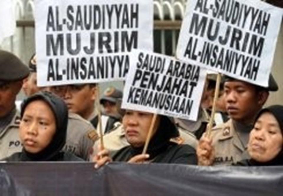 Suudi Arabistan'ın Cakarta elçiliği önünde eylem düzenlendi.