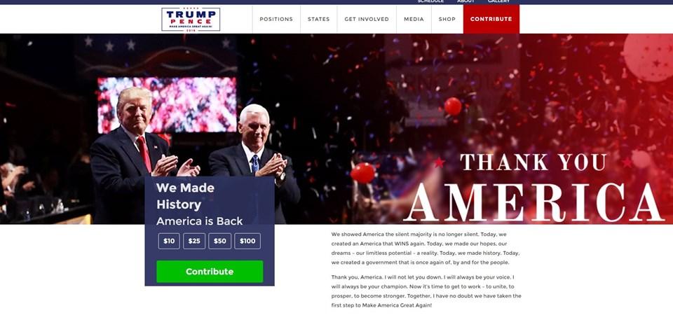 """Sayfaya girenler, Trump'ın Müslümanlarla ilgili sözleri yerine """"Teşekkürler Amerika, Tarih yazdık, Ameika geri döndü"""" sözleriyle karşılaşıyor."""