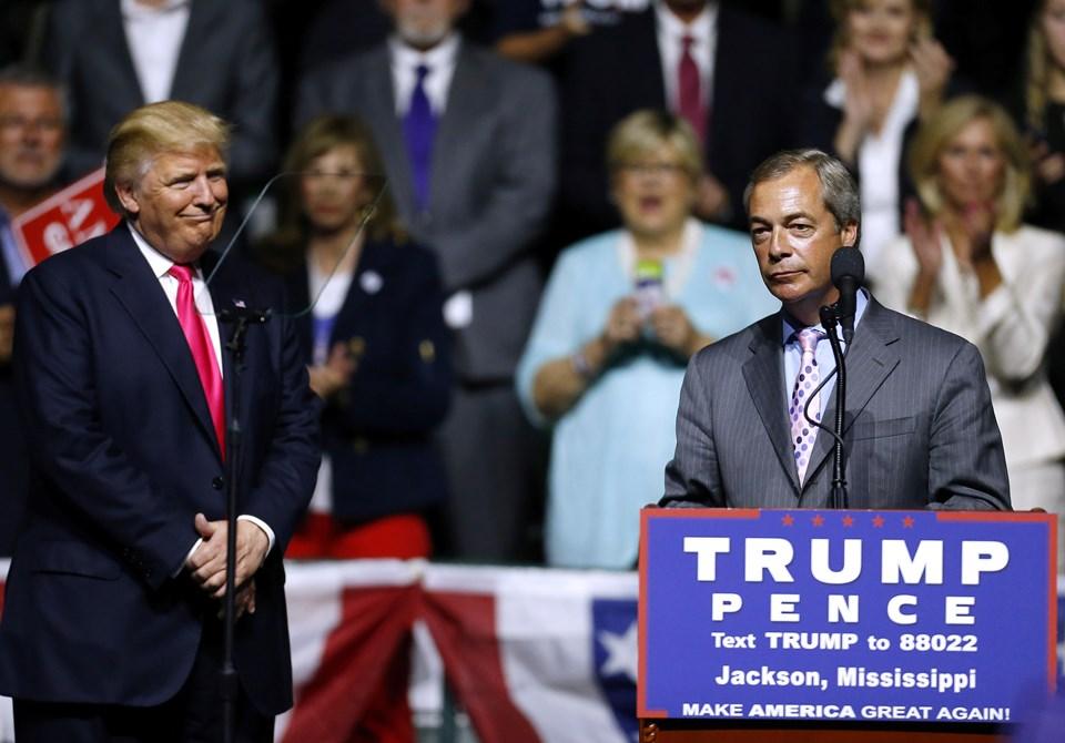 Trump seçim kampanyası sırasında Brexit'in en önemli savunucularından İngiliz siyasetçi Nigel Farage'ı bir mitinginde konuk etmişti