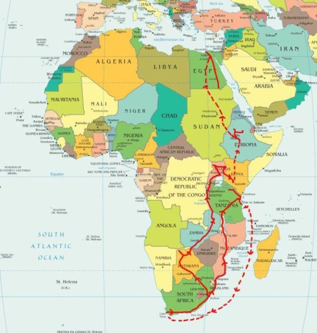 Scott'ın rotasını gösteren harita