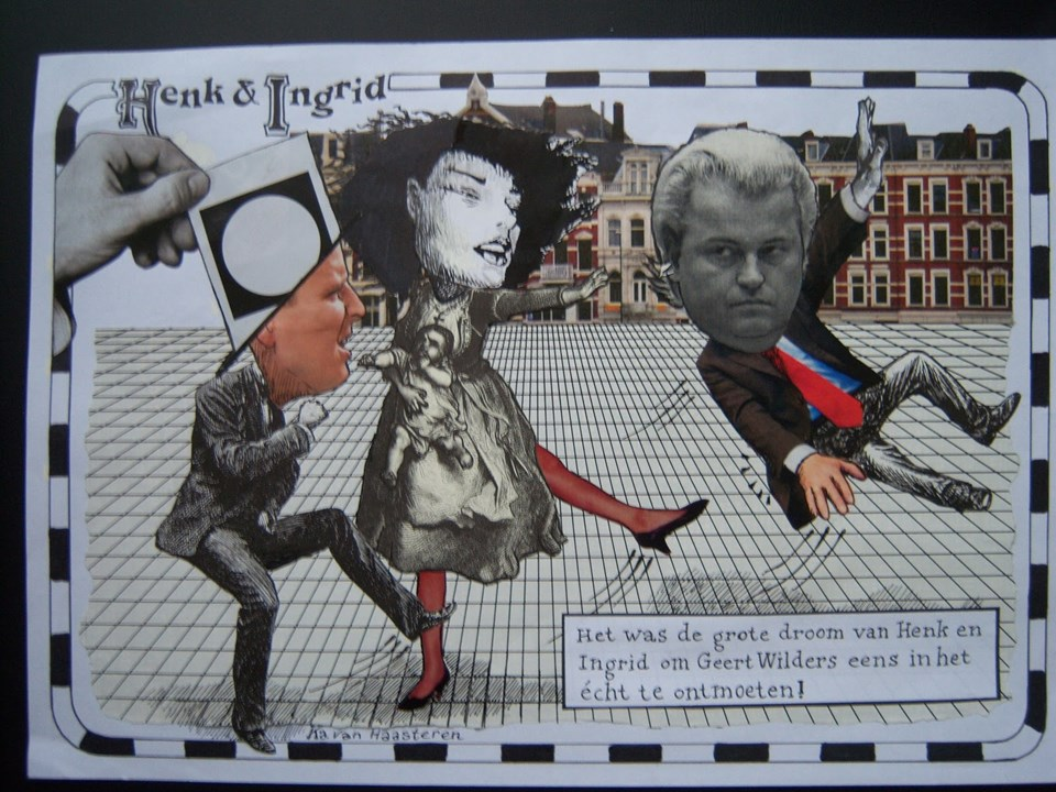 Wilders'i, meihur Henk ve Ingrid karakterlerince tekmelenirken gösteren karikatürler internette ilgi görüyor.