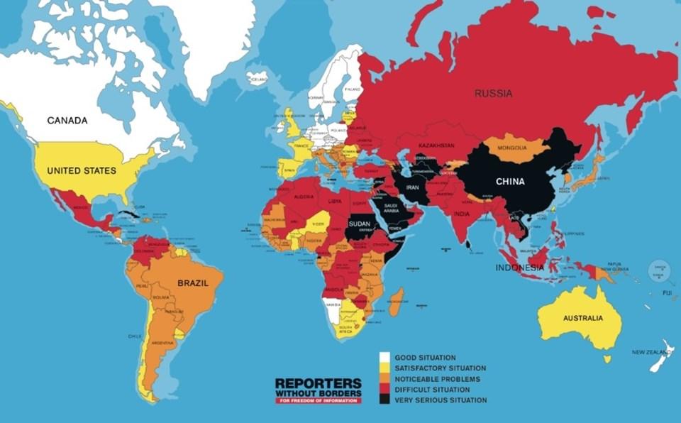 2015 yılı Dünya Basın Özgürlüğü Endeksi'nde Türkiye 180 ülke arasında 149'uncu sırada yer aldı.