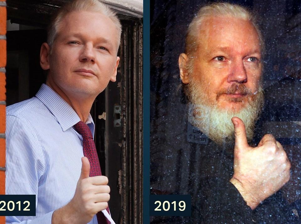 Wikilleaks kurucusu Julian Assange 2012 yılında Ekvador'un Londra Büyükelçiliği'ne sığındıktan sonra yaptığı işareti, bugün gözaltına alındığı sırada da tekrarladı.