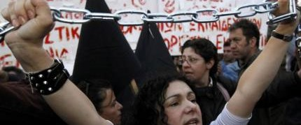 Yunanistan'da IMF protestosu