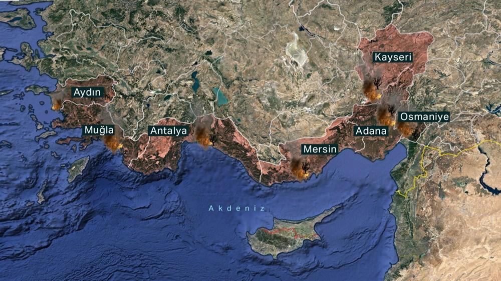 Antalya, Adana, Mersin, Aydın, Muğla, Osmaniye, Kayseri ve Manisa'da orman yangınları - 1