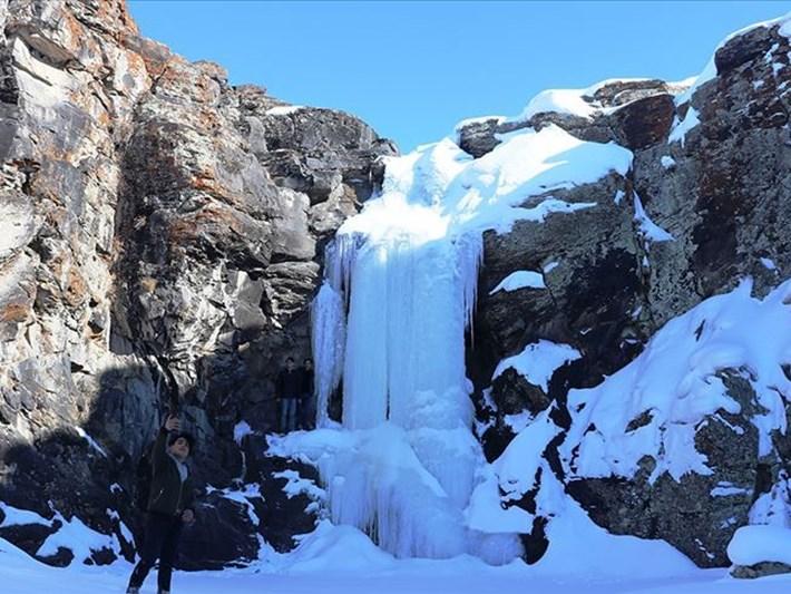 Ağrı'da buz tutan Toklu Şelalesi'nde görsel şölen