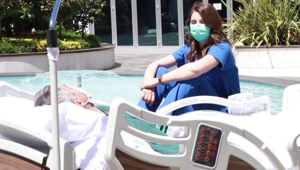 Hemşireden hastasına güneş ve dondurma morali