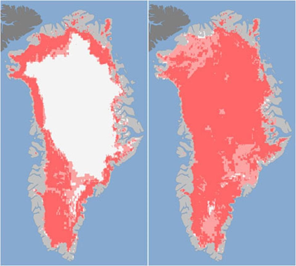 8-16 Temmuz tarihlerinde Grönland'ın yüzeyindeki erimeyi gösteren fotoğraflar.