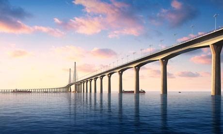 Makao Köprüsü'nün yapımı tamamlanınca böyle görünecek.