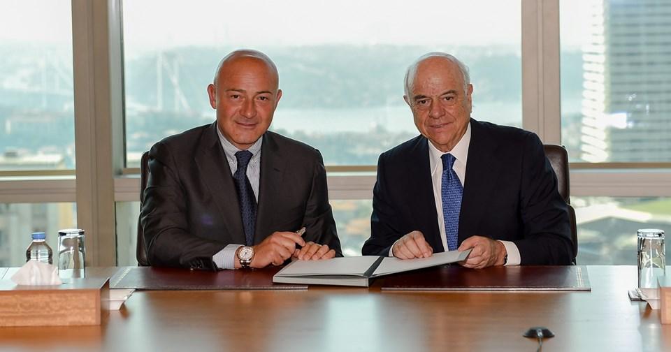 Doğuş Holding Yönetim Kurulu Başkanı Ferit Şahenk veBBVA'nın Yönetim Kurulu Başkanı Francisco Gonzalez
