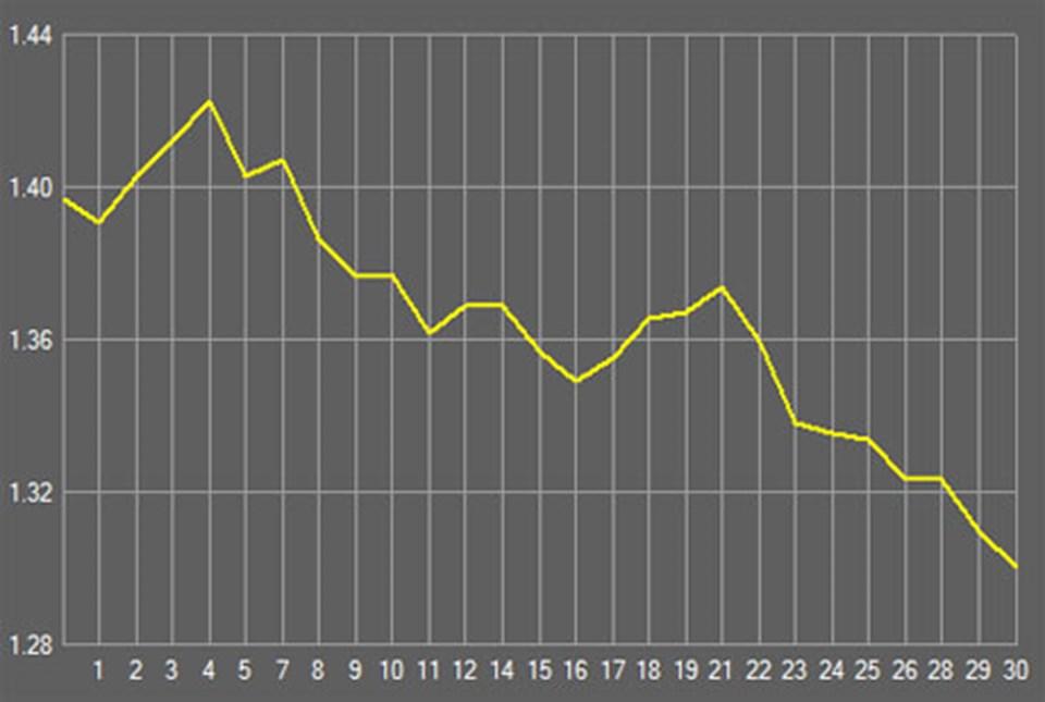 Euro'daki değer kaybının son bir aydaki seyri...