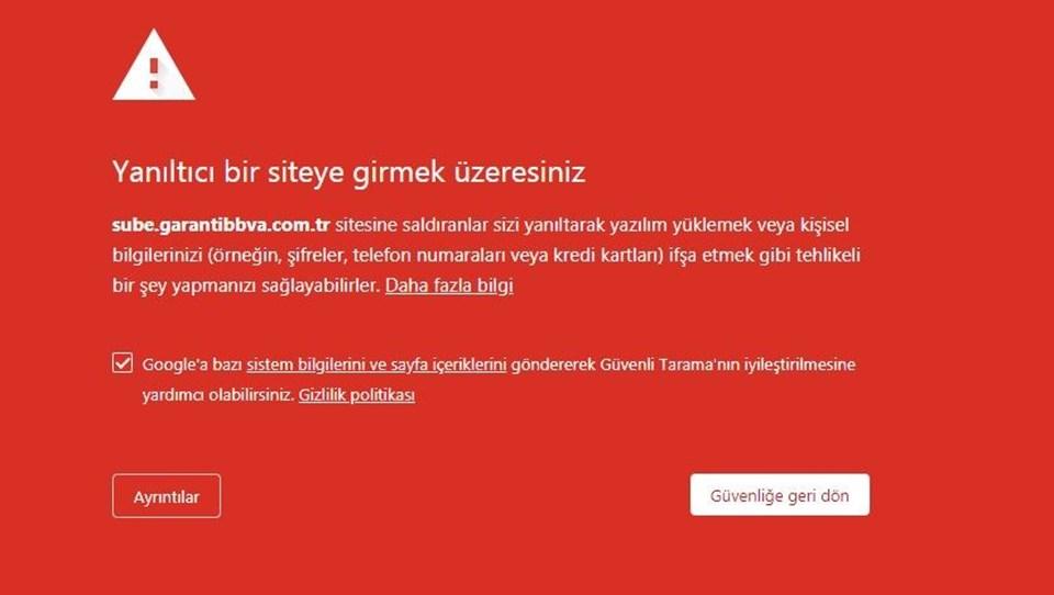 Chrome ile Garanti'nin sitesine girenler bu uyarı ile karşılaşıyor.