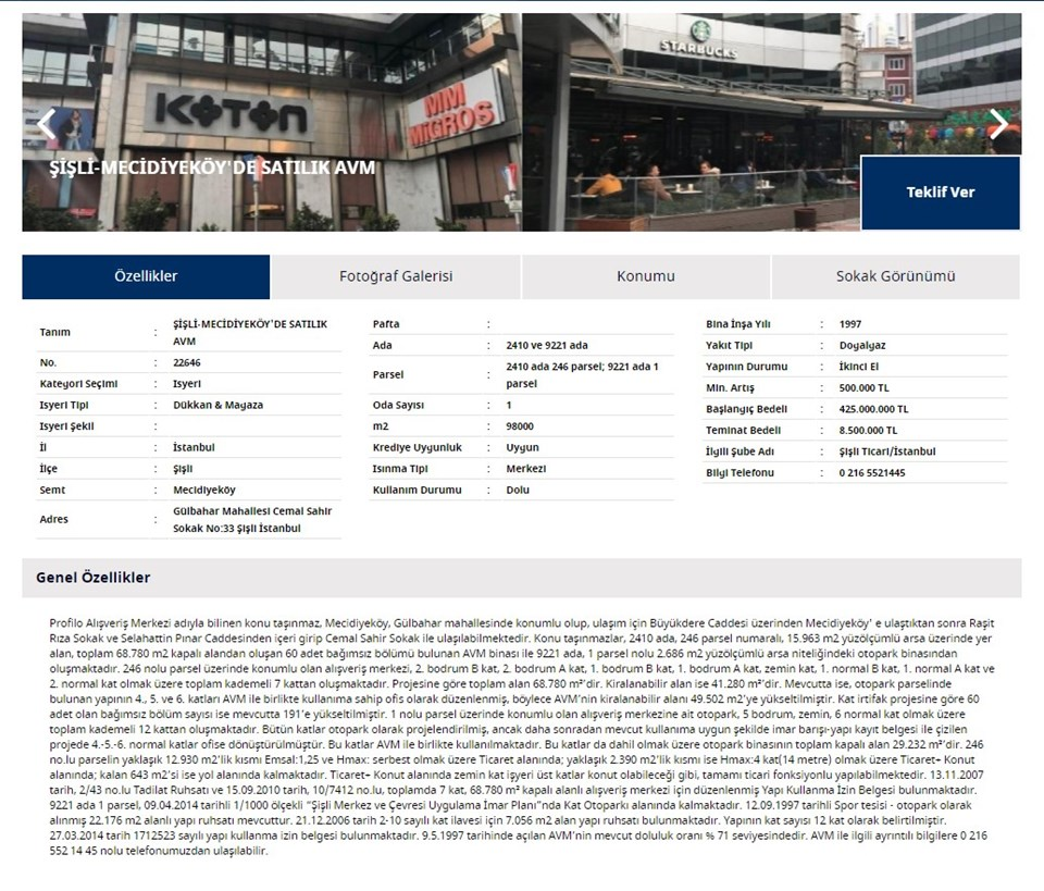İş Bankası'nın web sitesinde Profilo AVM'nin teklif usülü satılığa çıkarıldığı ilanı yer alıyor.