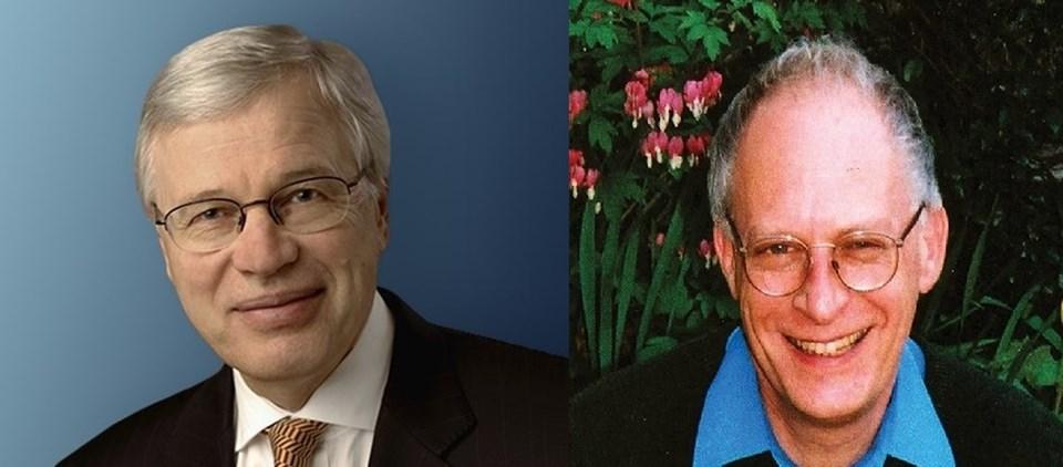 Ödülü kazanan biliminsanları Oliver Hart (sağda) ve Bengt Holmström (solda)