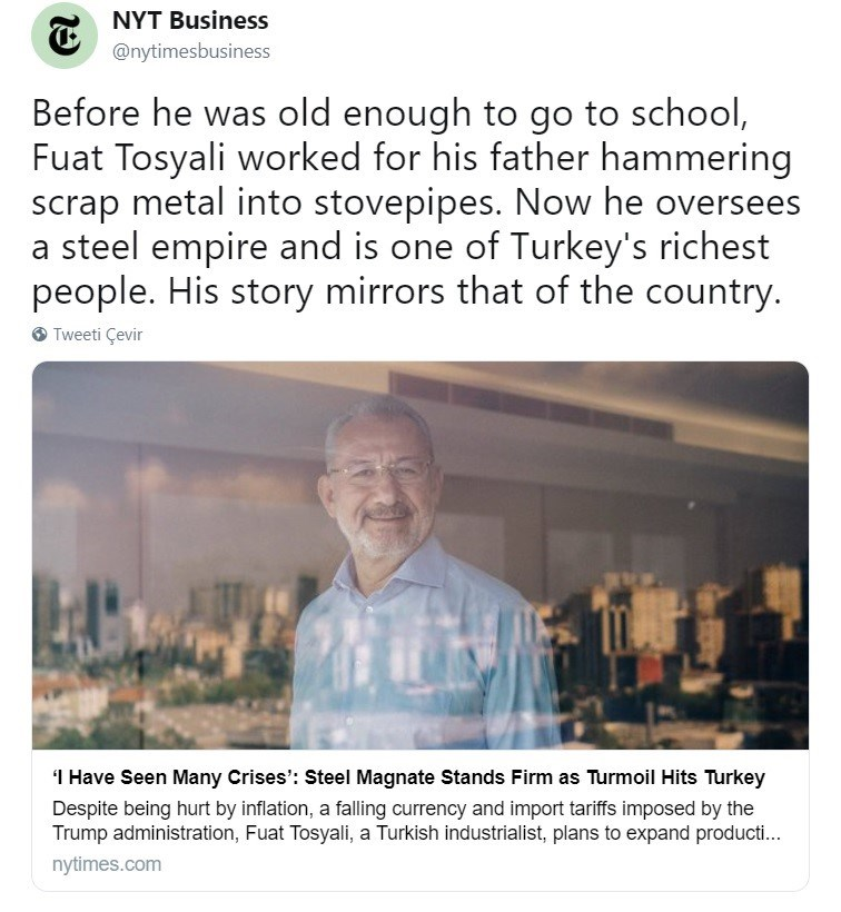 NYT, Fuat Tosyalı'nın açıklamalarını sosyal medya hesaplarından da paylaştı