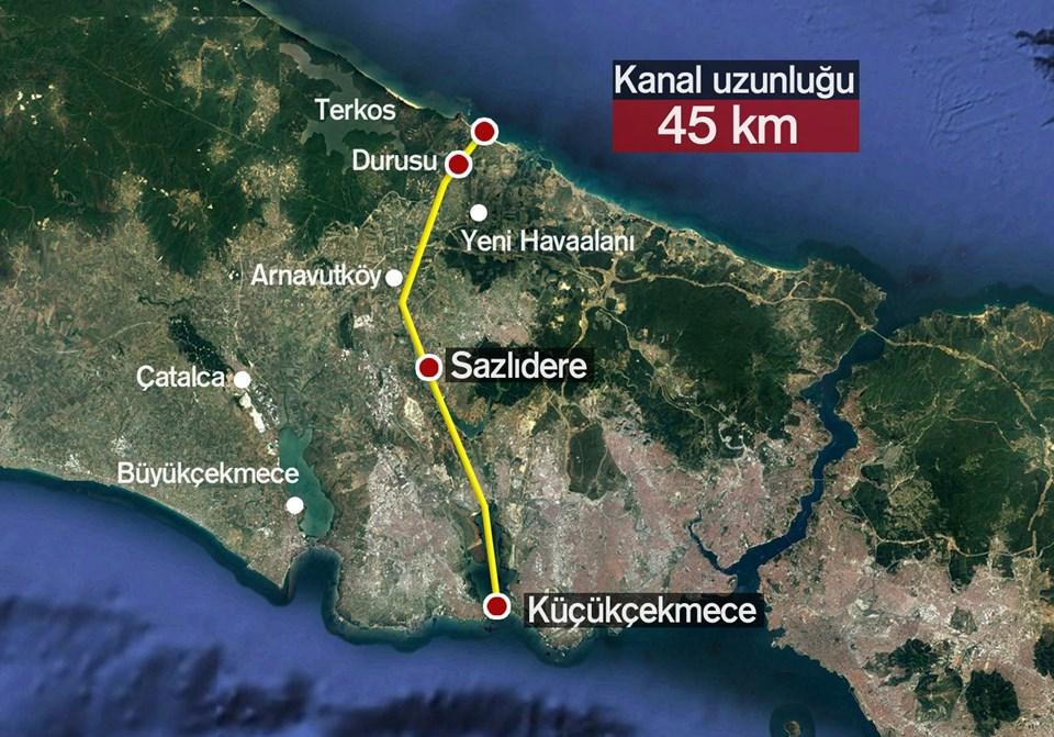 Kanal İstanbul Projesi'nin güzergahı