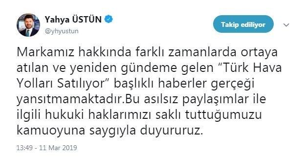 THY Basın Müşaviri Yahya Üstün sosyal medya hesabından duyurdu.