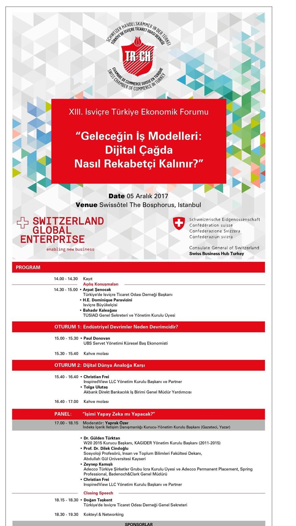 Swissotel'deki etkinlik 5 Aralık Salı günü öğleden sonra başlıyor...