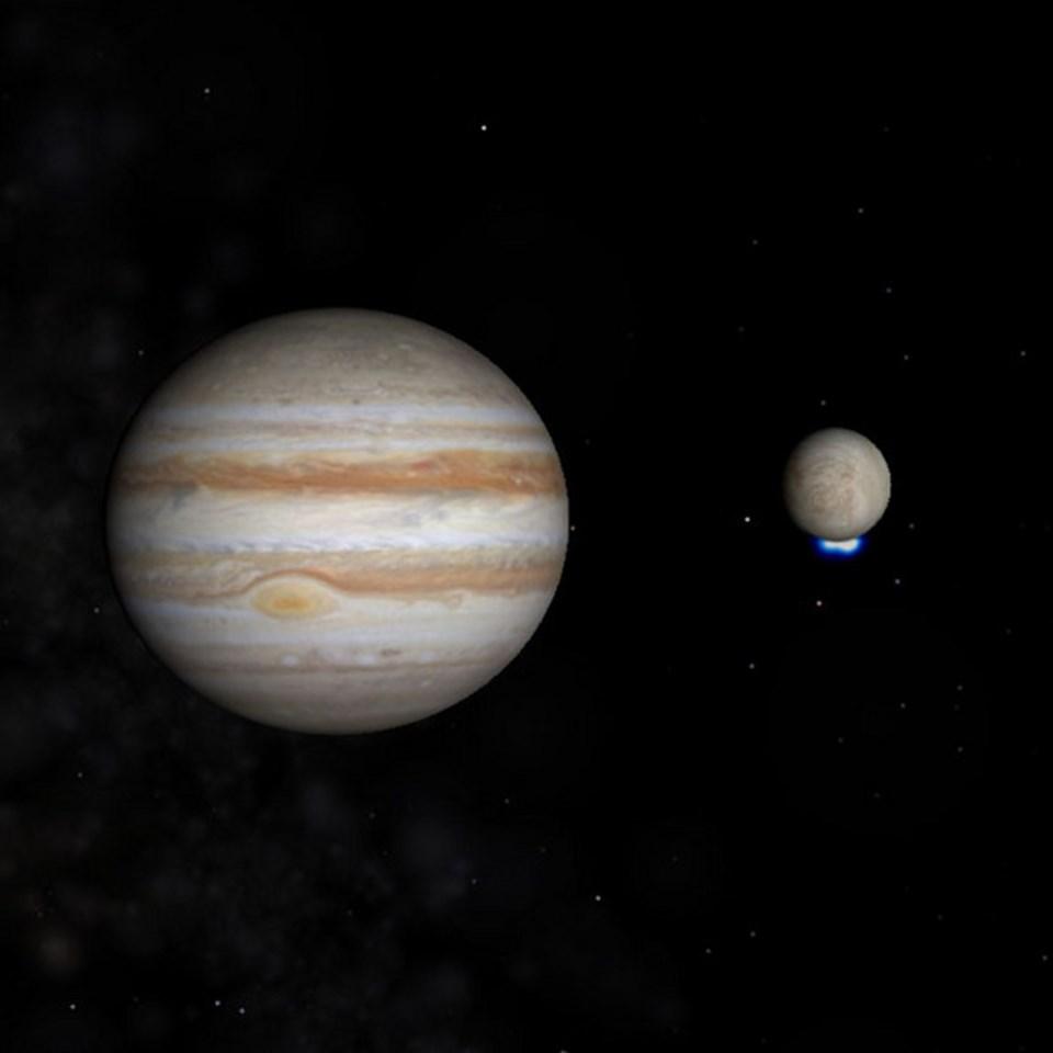 Europa'nın güney kutbundaki su buharına aitmorötesi ışın sinyalleri (NASA).