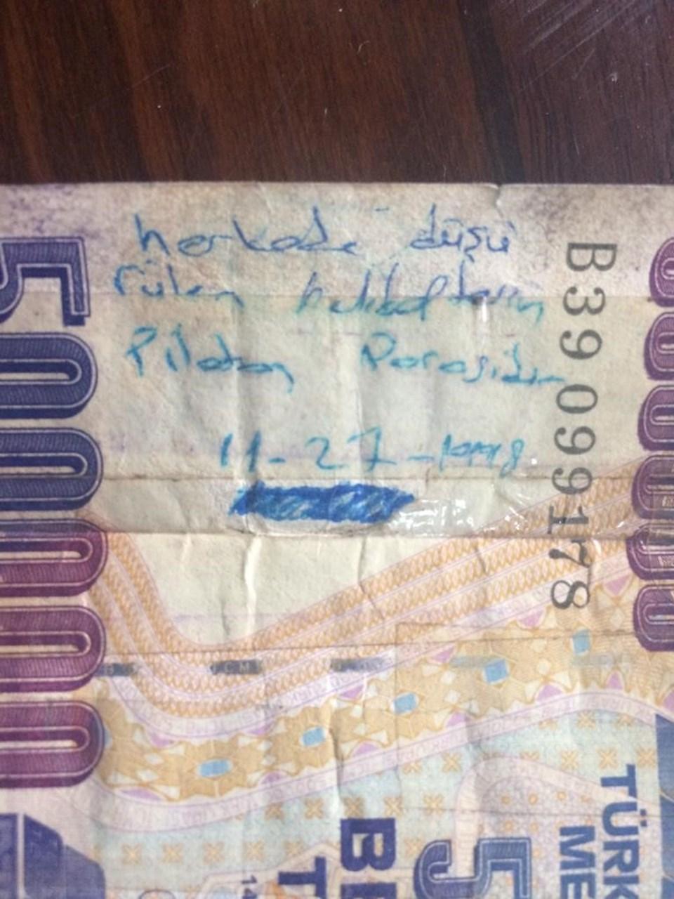 Etkisiz hale getirilen Sefer Açar'ın üzerinden çıkan 500.000 lira.