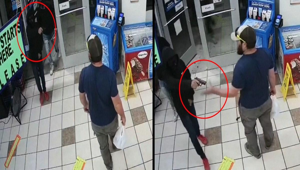 Markete giren silahlı soyguncuyu böyle durdurdu