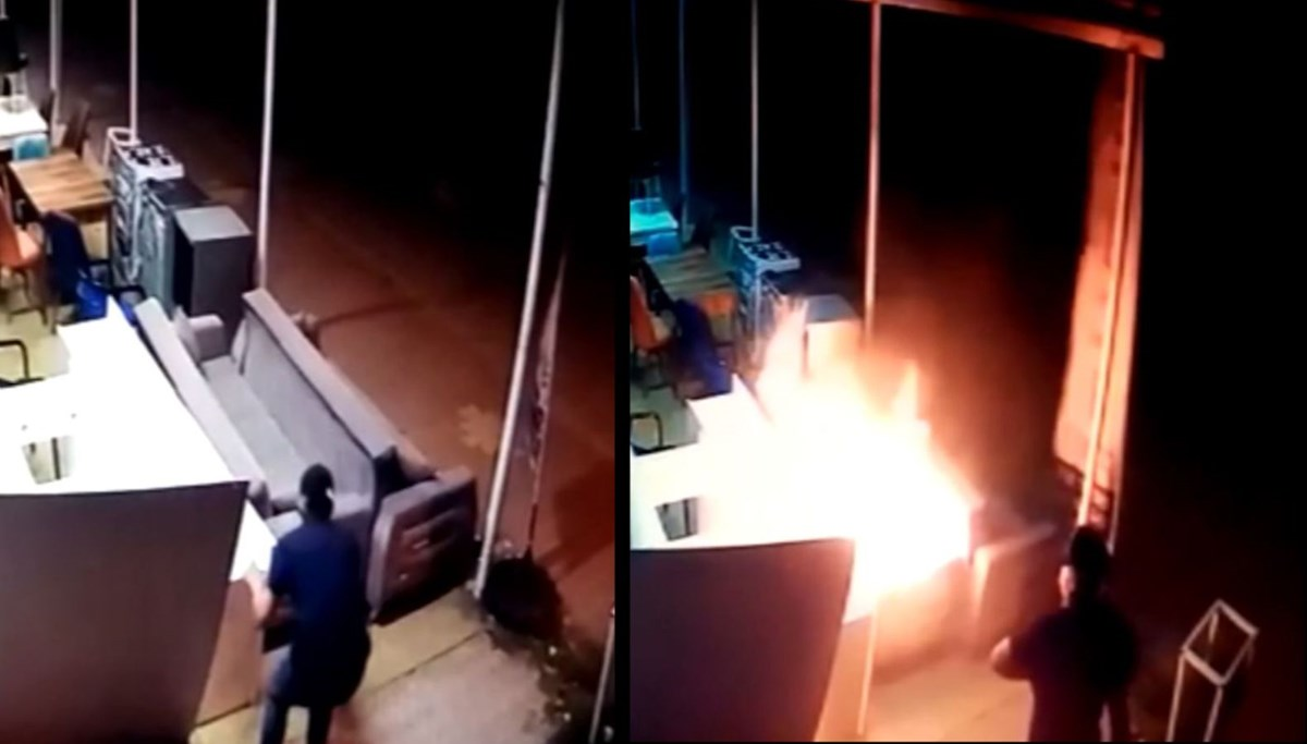 Dükkanı böyle kundakladı: Koltuklara benzin döküp ateşe verdi
