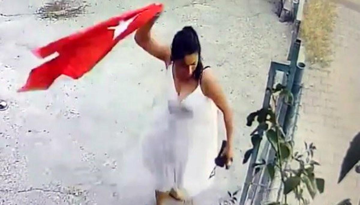 Adana'da iş yerine asılı Türk Bayrağı'nı koparıp çöpe atan kadın gözaltına alındı