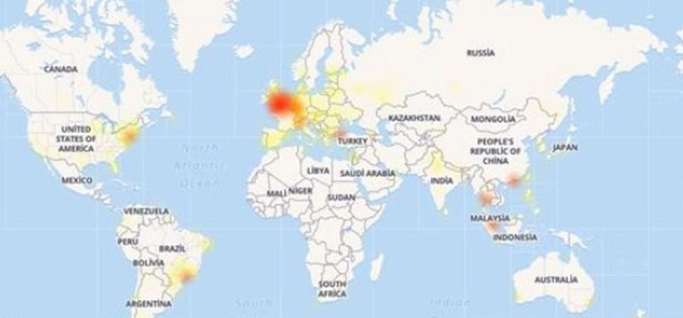 Down Detector verilerine göre, söz konusu sorundan en çok Avrupa etkilendi.