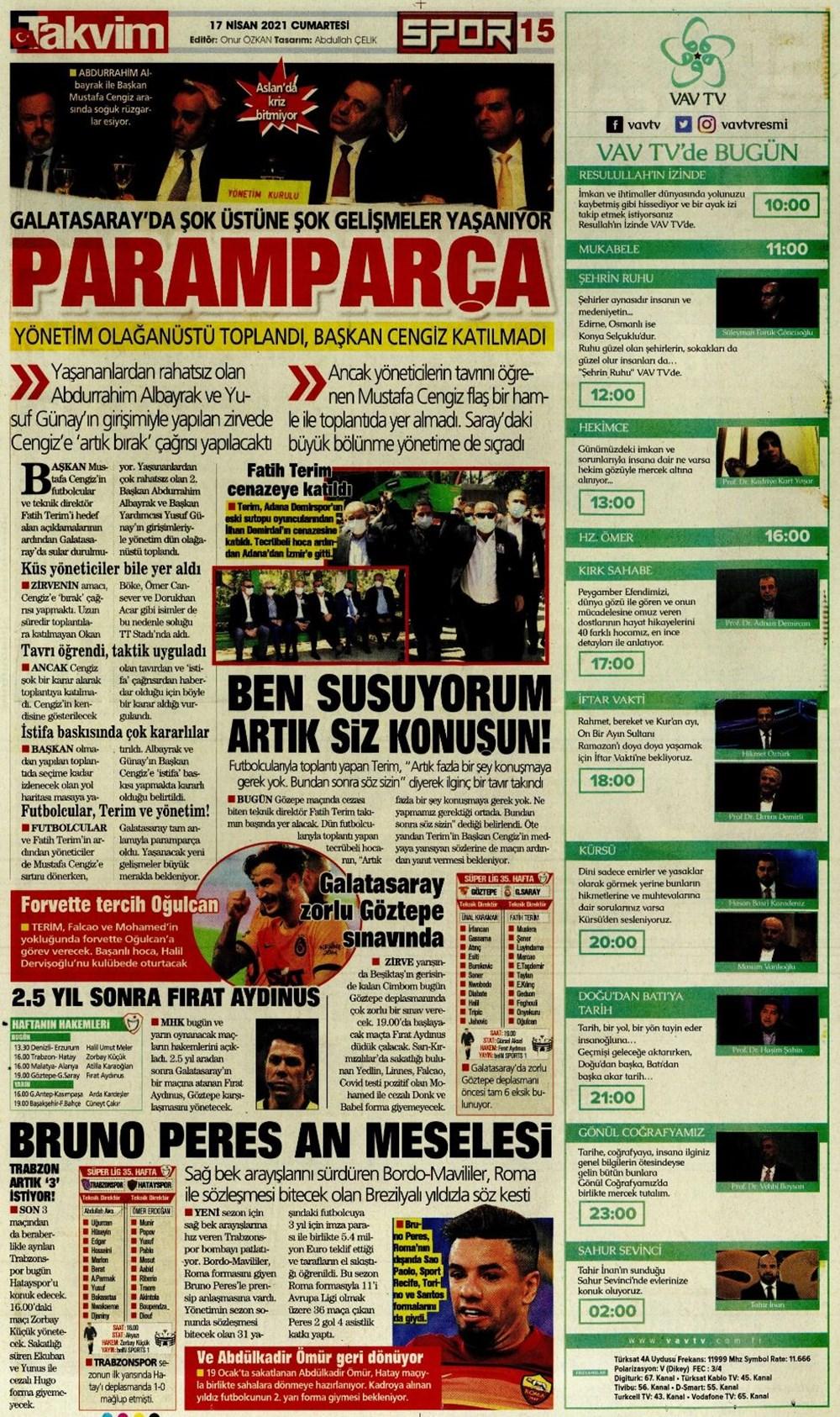 Günün spor manşetleri (17 Nisan 2021) - 22