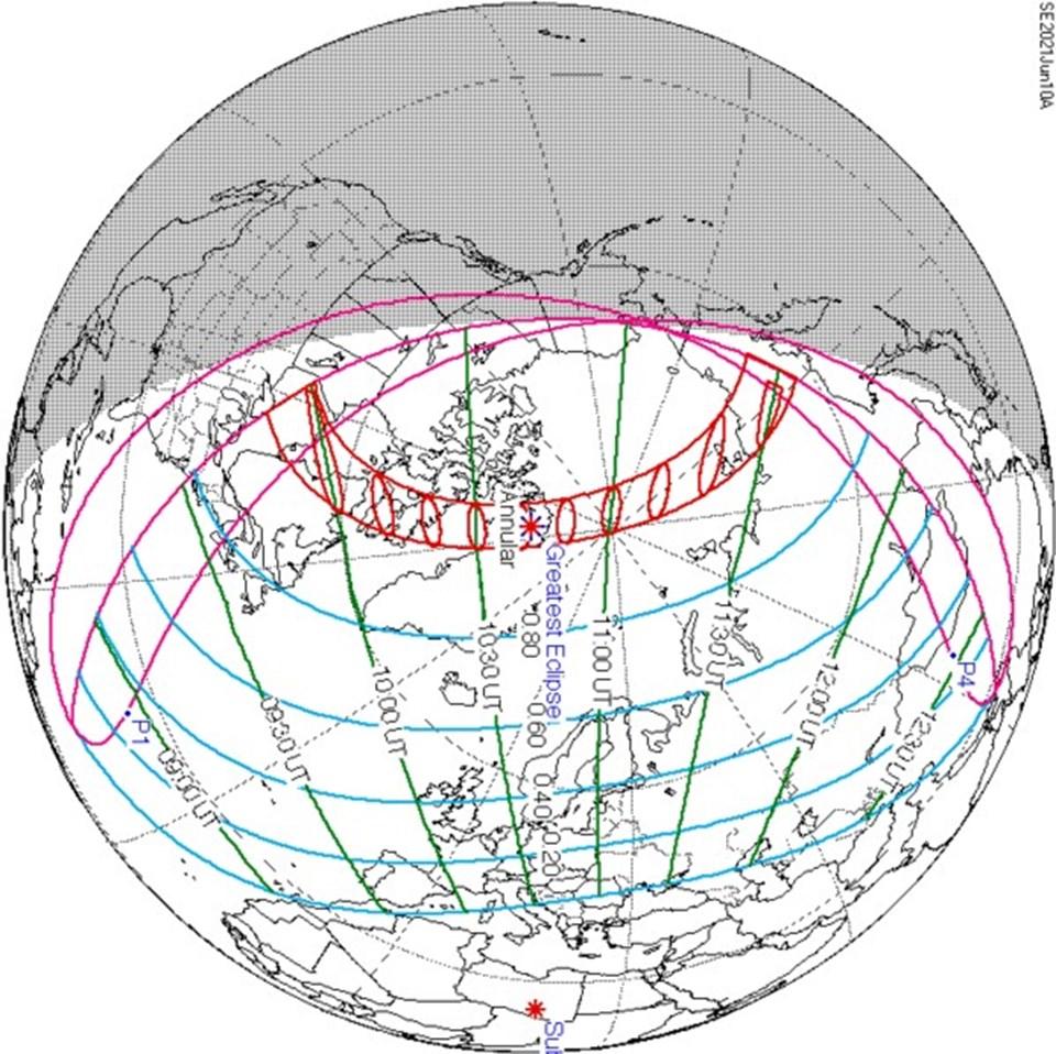 Ateş Çemberi Güneş Tutulması kırmızı noktalı alanlarda etkili olacak. Mavi çizgiler ise parçalı Güneş Tutulmasının görülebileceği alanları gösteriyor.