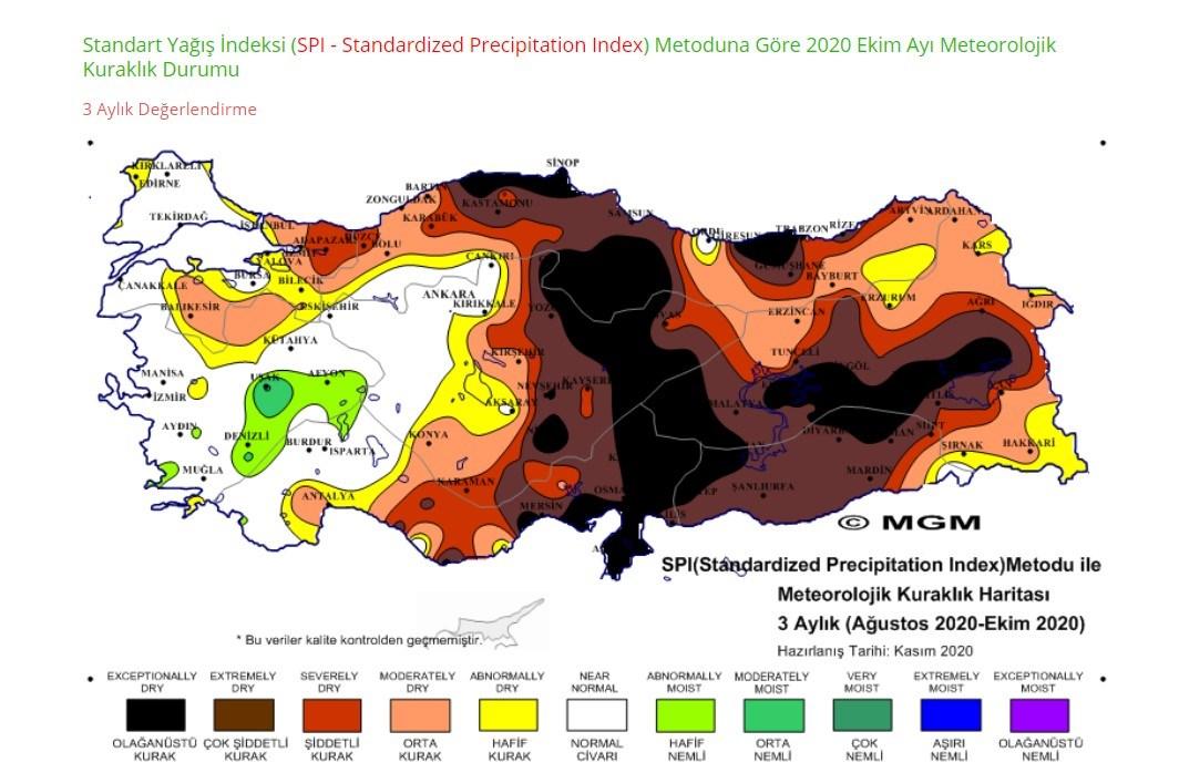 MGM'de yer alan 3 aylık kuraklık haritası (Ağustos 2020-Ekim 2020)