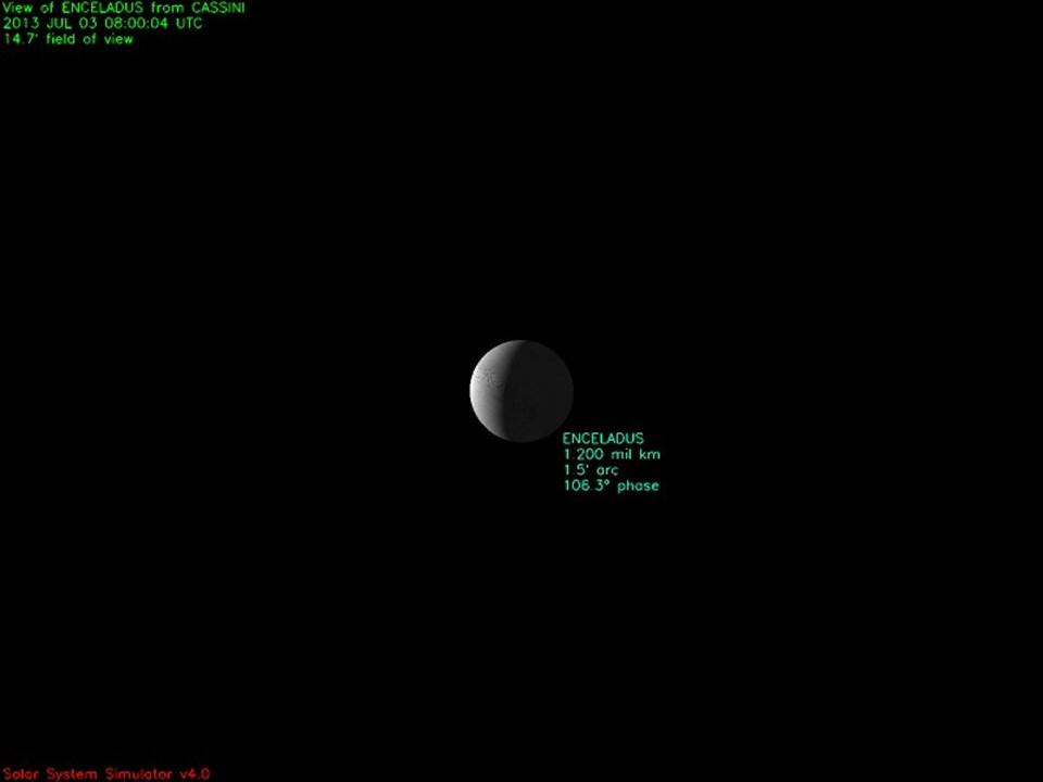 Cassini'nin bugün fotoğrafladığı Enceladus uydusu.