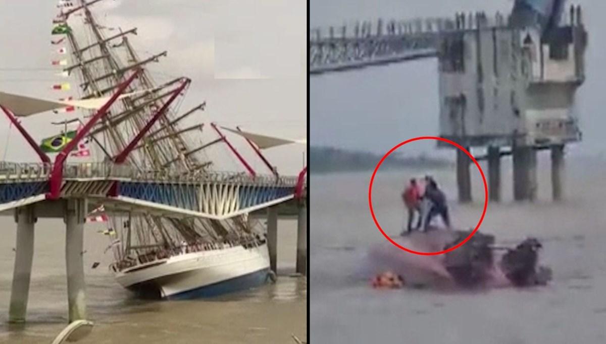 Kontrolden çıkan eğitim gemisi köprüye çarptı