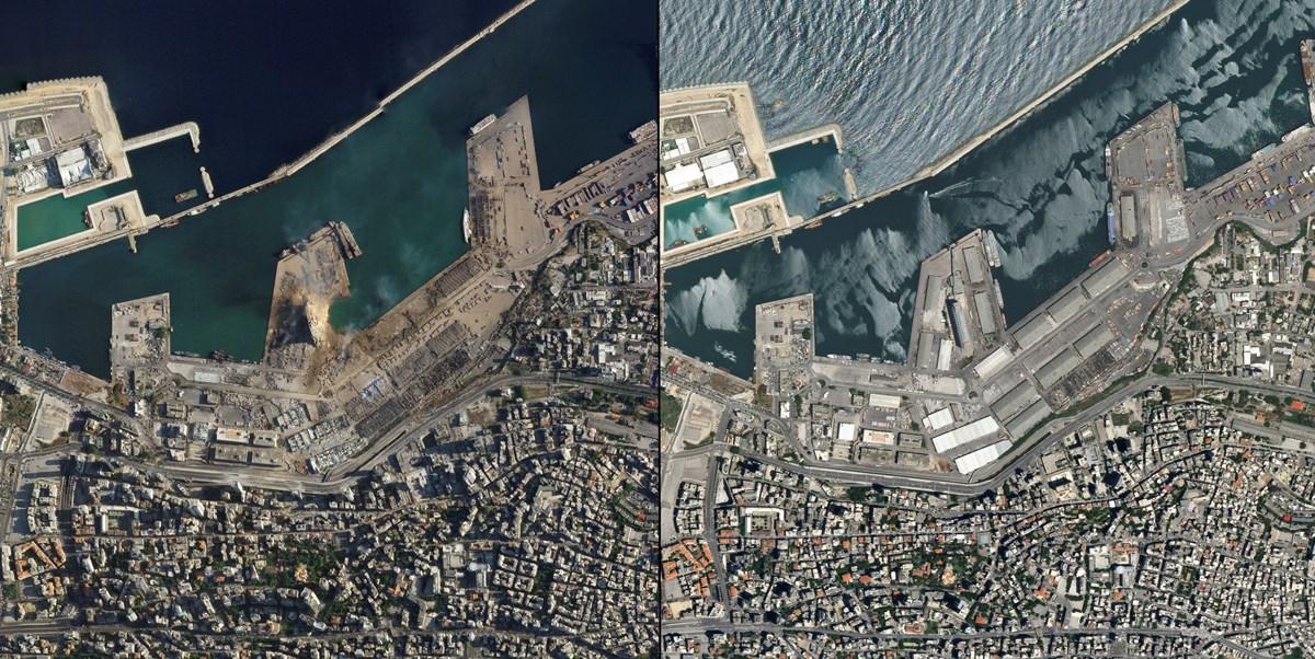 12 numaralı hangarda meydana gelen patlamanın uydu görüntüsü.